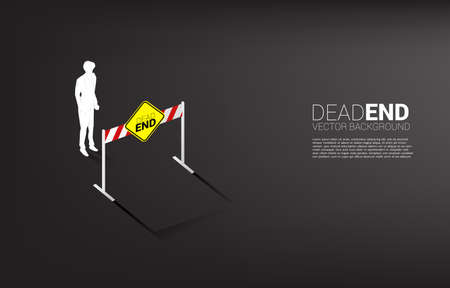 Silhouette businessman standing with dead end signage . Concept of wrong decision in business or end of career path. Иллюстрация