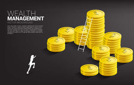 Silhouette of businessman running with stack of coin and ladder. Concept of success investment and growth in business