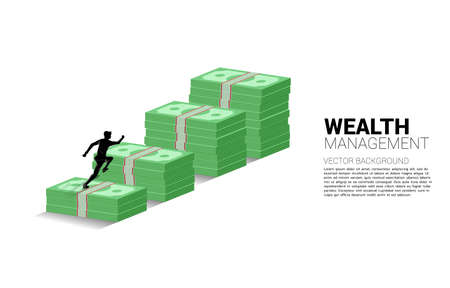 Silhouette of businessman running on top of growth graph with stack of banknote. Concept of success investment and growth in business Ilustracja