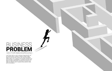 Silhouette of businessman running to enter to maze. Business concept for problem solving and solution strategy