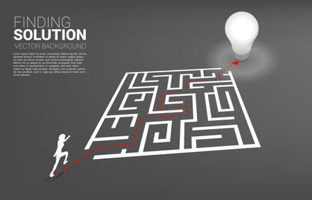 Silhouette of businessman running on path to exit the maze to light bulb. Business concept for problem solving and finding idea. Ilustração