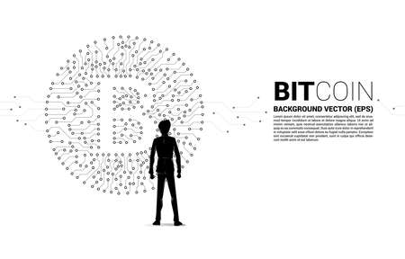 Vector businessman and bitcoin icon from circuit board style dot connect line. Concept for cryptocurrency technology and financial network connection. Ilustrace