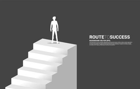 Silhouette of businessman standing on stair. Concept of people ready to up level of career and business.