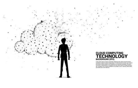 Silhouette of businessman and cloud network technology polygon dot connected line with icon. Concept of cloud server, Storage and data