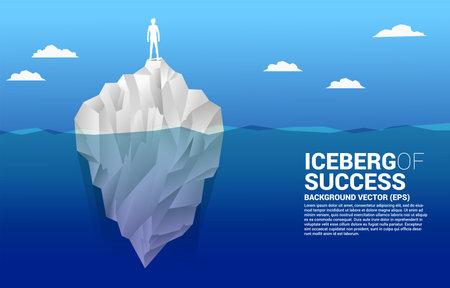 Silhouette of businessman standing on top of iceberg. Business Concept of iceberg successful. Ilustração
