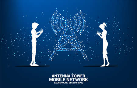 Silhouette of man and woman use mobile phone with Antenna Tower icon polygon style from dot and line connection. Concept of telecommunication mobile and data technology Ilustração