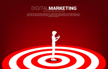 silhouette of man use mobile phone on center of dartboard . Business Concept of marketing target and customer.Company vision mission and goal. Ilustração