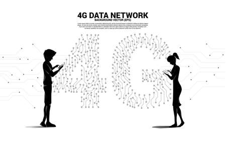 Silhouette of man use mobile phone with 4G dot connect line circuit board style mobile data icon. Concept for data transfer of mobile and wi-fi data network.