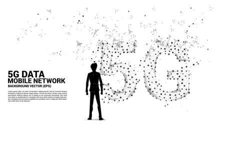 Silhouette of businessman and Polygon dot connect line shaped 5G mobile networking. Concept for mobile sim card technology and network. Ilustração