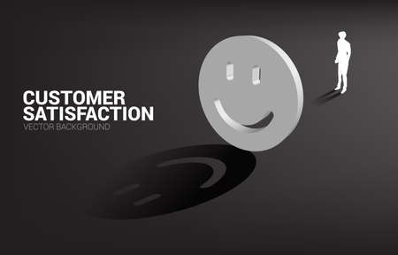 Silhouette businessman standing with 3D smile icon rating . concept of customer satisfaction , client rating and ranking.