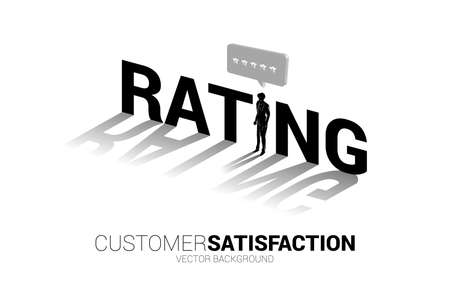 Silhouette businessman standing with 3D customer rating star in speech bubble . concept of customer satisfaction , client rating and ranking.