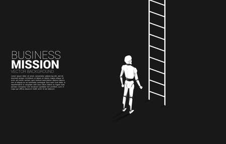 Robot standing to move up with ladder. concept of artificial intelligence and machine learning worker technology. Ilustração