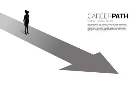Silhouette of businesswoman standing on forward arrow. Concept of career path and start business