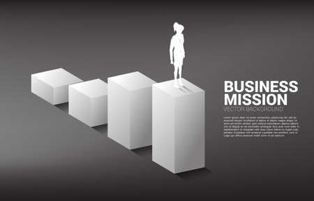 Silhouette of businesswoman standing on bar graph. Concept of people ready to up level of career and business. Ilustração