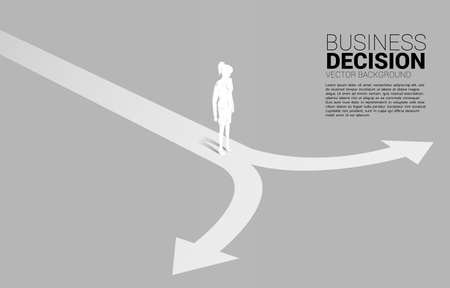 Silhouette of businesswoman standing at crossroad. Concept of time to make decision in business direction Ilustração
