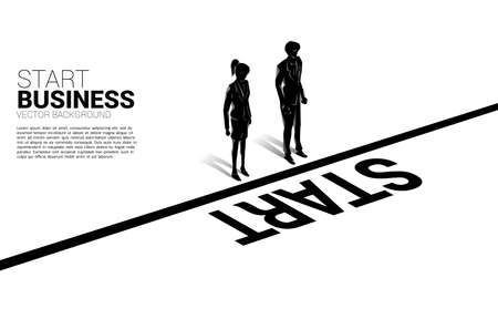 Silhouette of businesswoman and businesswoman standing at start line. Concept of people ready to start career and business
