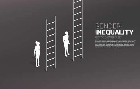 Businessman standing with higher ladder than businesswoman. Concept of gender inequality in business and obstacle in woman career path