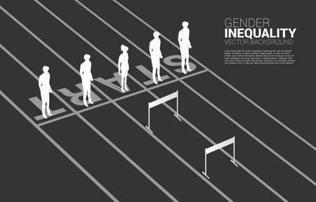Silhouette one of businesswoman standing with hurdles obstacle . Concept of gender inequality in business and obstacle in woman career path Stock Illustratie