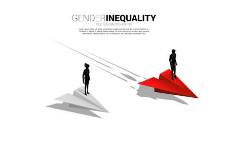 Silhouette businessman standing on faster paper airplane . Concept of gender inequality in business and obstacle in woman career path