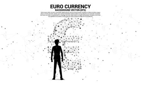 Silhouette businessman standing with money euro currency icon from Polygon dot connect line. Concept for europe financial network connection.