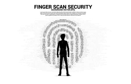 Silhouette businesswoman standing with thumbprint icon from one and zero binary code. background concept for finger scan technology and privacy access.