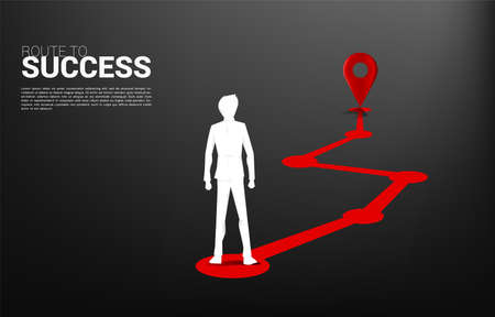 Silhouette businessman standing with Route between 3D location pin markers and businessman . Concept for Location and business direction.