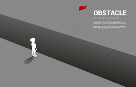 silhouette of girl standing at abyss looking to goal. Concept of education solution and decision of future.