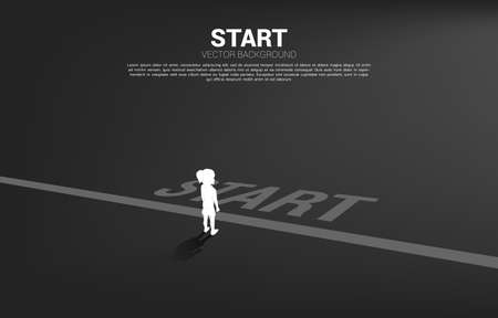 Silhouette of girl standing at start line. Concept of education start and future of children. Ilustração