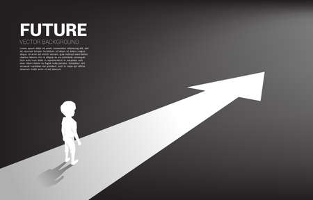 Silhouette of boy standing on route with arrow. Concept of education solution and future of children.