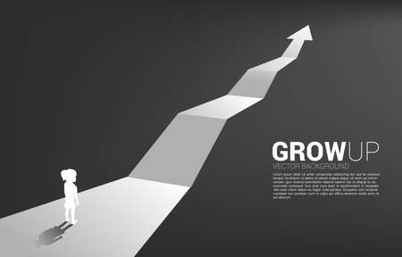 Silhouette of girl standing on route with growth arrow. Concept of education solution and future of children.