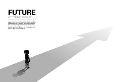 Silhouette of girl standing on route with arrow. Concept of education solution and future of children.