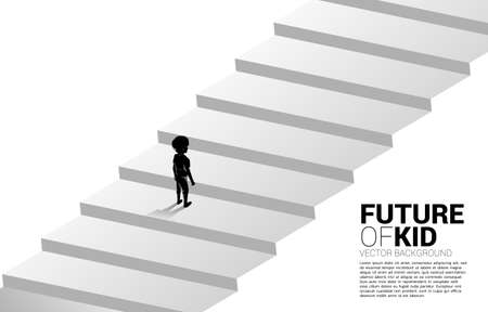 Silhouette of boy standing on stair step. Concept of education solution and future of children.