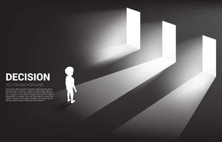 Silhouette of boy standing in front of 3 door with light. Concept of education solution and decision of future.