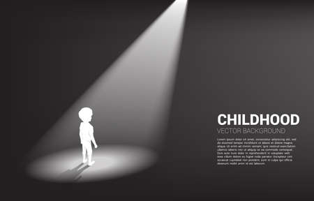 Silhouette of boy standing in spotlight. Concept of education solution and future of children. Ilustração
