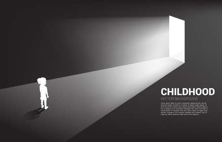 Silhouette of girl standing in front of the way out with light. Concept of education solution and future of children.