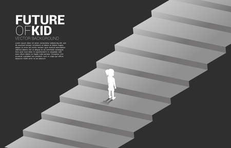 Silhouette of girl standing on stair step. Concept of education solution and future of children.