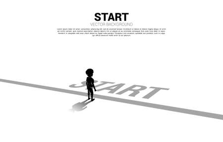 Silhouette of boy standing at start line. Concept of education start and future of children.