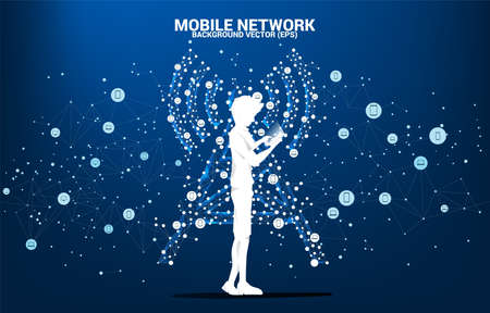 Silhouette of man use mobile phone Antenna Tower icon polygon style from dot and line connection. Concept of telecommunication mobile and data technology 版權商用圖片 - 162982060