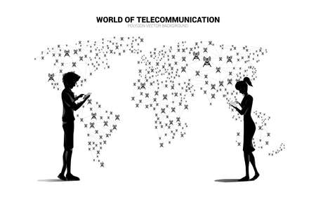 Vector man and woman use mobile phone and Polygon dot connect line with antenna tower icon around world map map. Concept for global telecommunication technology. 版權商用圖片 - 162982064