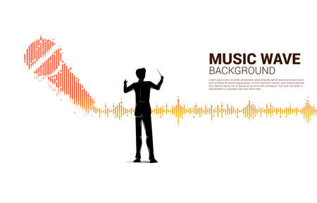 Vector silhouette of conductor with Sound wave microphone icon Equalizer background.Concept of Podcast and karaoke graphic theme