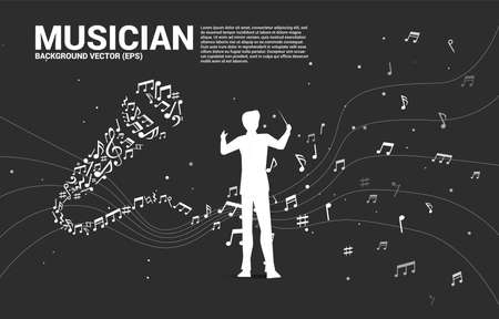Vector silhouette of conductor with Sound wave microphone icon from music note melody dancing. karaoke and concert graphic visual style concept