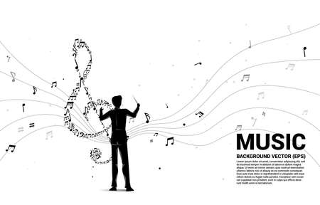 Vector silhouette of conductor with music melody shape sol key note dancing flow . Concept background for song and concert theme.