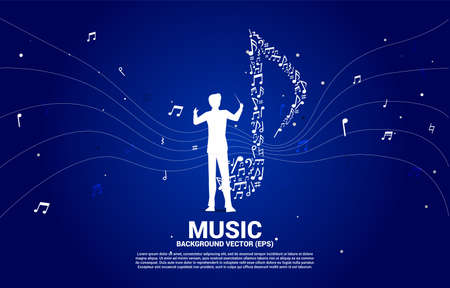 Vector silhouette of conductor with music icon shaped from key note dancing . Concept background for song and concert theme.
