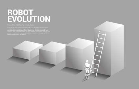Robot standing to move up on bar graph with ladder. concept of artificial intelligence and machine learning worker technology. 向量圖像