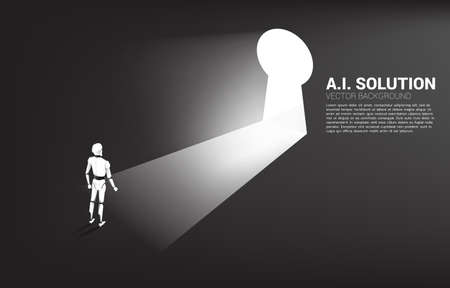 Silhouette of robot ready to move out to key hole door. concept of artificial intelligence and machine learning worker technology