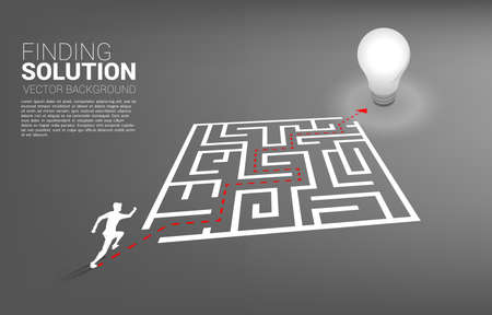 Silhouette of businessman running with route path to exit the maze to light bulb. Business concept for problem solving and finding idea. 向量圖像
