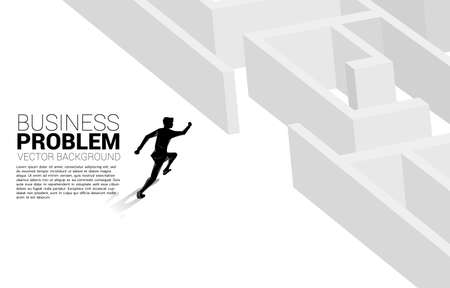 Silhouette of businessman running to enter to maze. Business concept for problem solving and solution strategy 向量圖像