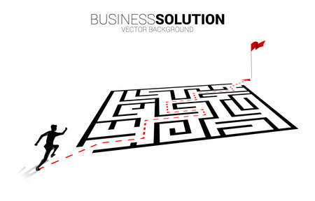 Silhouette of businessman running on route path go around the maze to goal. Business concept for problem solving and finding idea. 版權商用圖片 - 163910176
