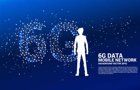 Silhouette of businessman standing with Polygon dot connect line shaped 6G mobile network. Concept for mobile phone data technology.