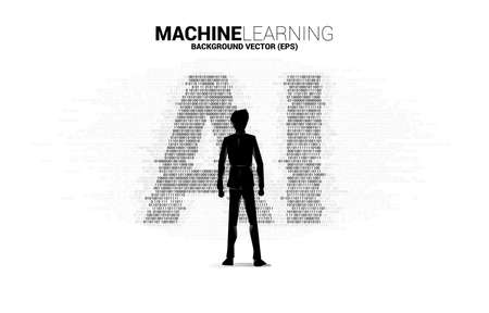Silhouette of businessman standing with AI from one and zero binary code digit matrix style. concept of machine learning and Artificial Intelligence technology